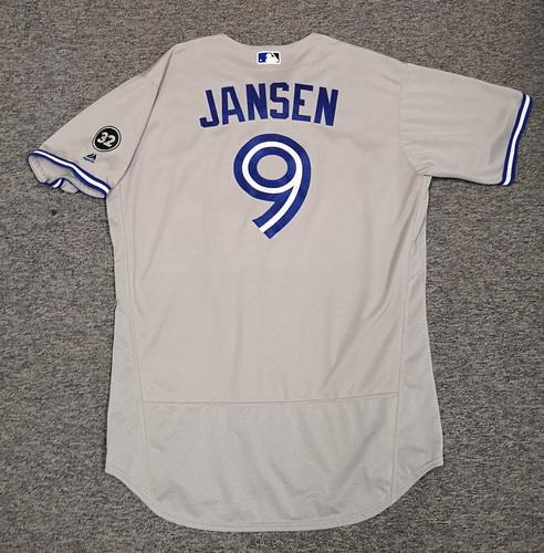 Photo of Authenticated Team Issued Jersey - #9 Danny Jansen (2018 Season). Size 48. Rookie Season.