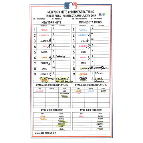 Photo of Game Used Lineup Card - Conforto Goes 4-4, RBI and 1 Run Scored; Diaz Earns 21st Save; Mets Win 3-2 - Mets vs. Twins - 7/16/19