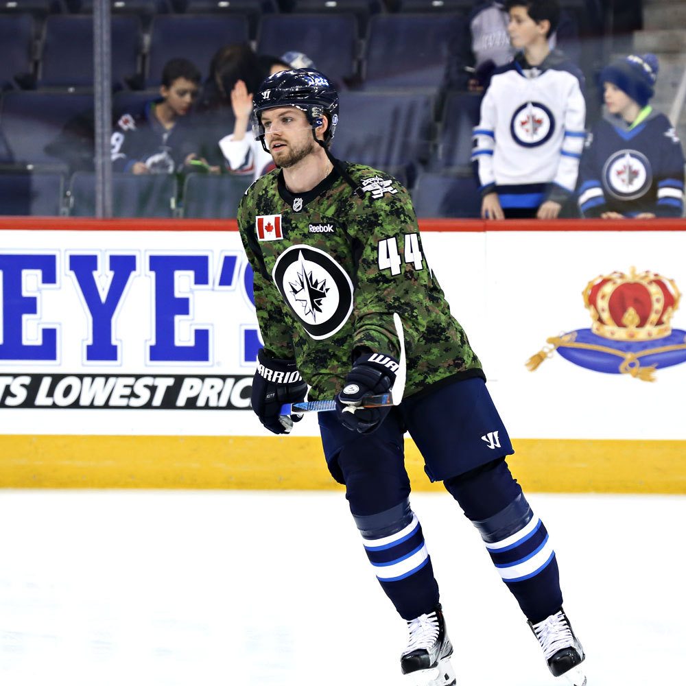 Josh Morrissey Winnipeg Jets Warm Up Worn Canadian Armed Forces jersey