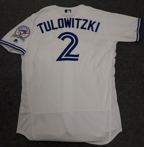 Photo of Authenticated Game Used Jersey - #2 Troy Tulowitzki (September 23, 2016). Tulowitzki went 2-for-4 with 4 RBIs. Size 46
