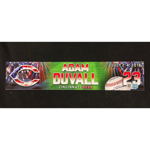 Adam Duvall Game Used Stars Stripes Locker Tag 07