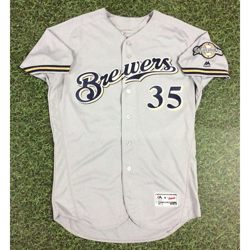 Photo of Brent Suter 2018 Game-Used Opening Day Jersey