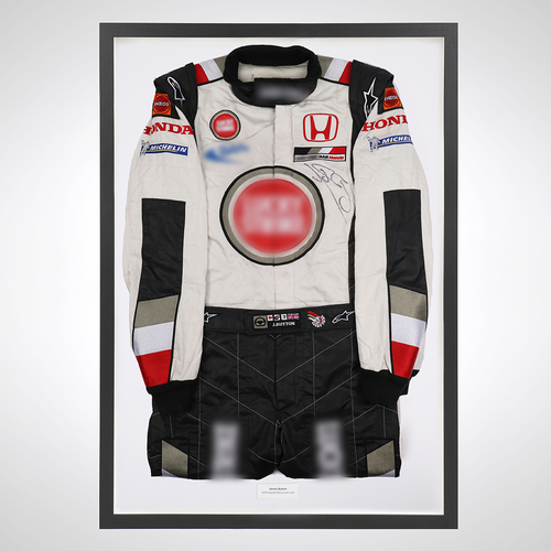 Photo of Jenson Button 2005 Framed Signed Race-worn Suit - BAR Honda (Lucky Strike)