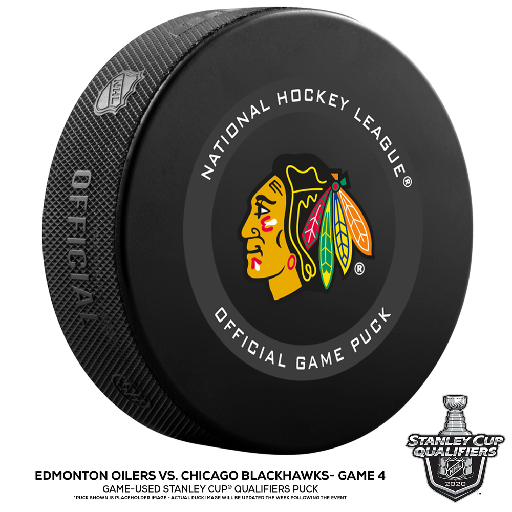 Edmonton Oilers vs. Chicago Blackhawks Game-Used Puck from Game 4 of the 2020 Qualifying Series on August 7, 2020