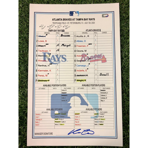 Photo of Game Used Lineup Card: Pete Fairbanks (W, 1.0IP, 3 SO) & Oliver Drake (S, 1.0IP, 1 SO) - Yoshitomo Tsutsugo (2-4, R, 2RBI) & Kevin Kiermaier (1-2, R, SB) - July 28, 2020 v ATL