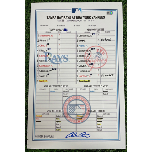 Photo of Game Used Lineup Card: Blake Snell (ND, 6.0IP, 9 SO) - Brandon Lowe (9) and Austin Meadows (9) Home Runs - May 18, 2019 at NYY