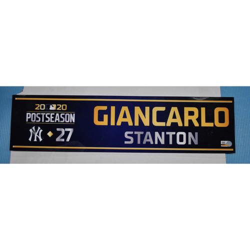 Photo of Game-Used Locker Tag - 2020 ALDS Game 4 Locker - Giancarlo Stanton