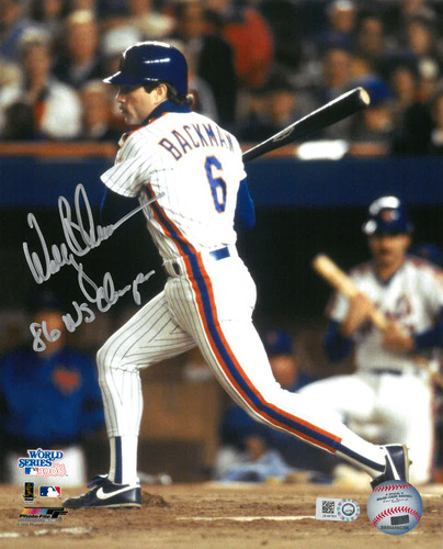 "Photo of Wally Backman - Autographed 8X10 Photo - Inscribed ""86 WS Champs"""