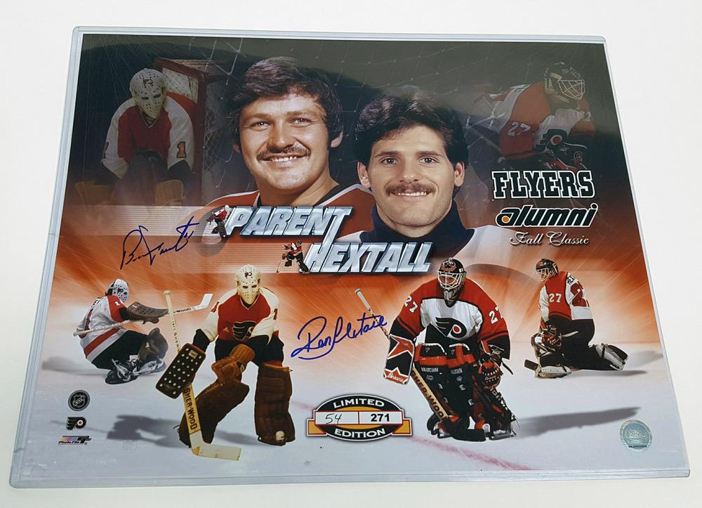 Ron Hextall & Bernie Parent Philadelphia Flyers Dual Signed 16x20 Photo *L/E 24 of 271*