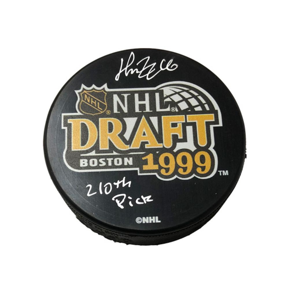 HENRIK ZETTERBERG Signed 1999 NHL Draft Puck W/ 210th Pick Inscription