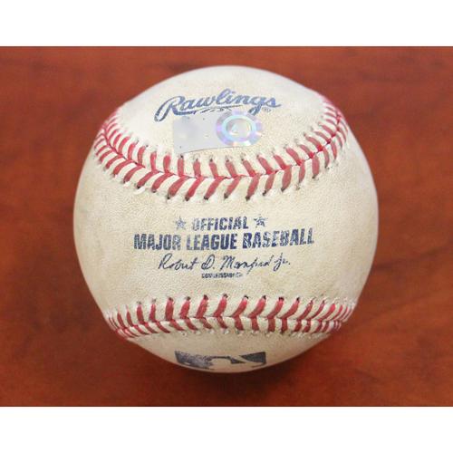 Photo of Game-Used Baseball - (TEX) Nick Martinez / Khris Davis Home Run (36) - TEX at OAK 8/25/17