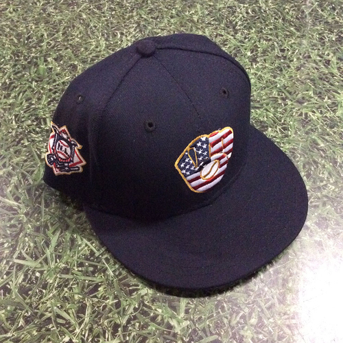 Photo of Lorenzo Cain Team-Issued 2018 Stars & Stripes Cap