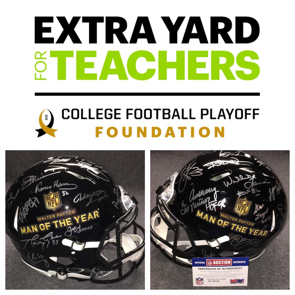 Surprise school funding in partnership with Extra Yard for Teachers + win a Walter Payton Man of The Year Helmet that is signed by over 25 former winners (Drew Brees, Peyton Manning, Roger Staubach and more!)