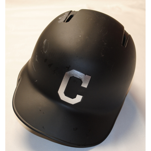 "Photo of Francisco ""(Smiley Face Emoji)"" Lindor Cleveland Indians Game-Used 2019 Players' Weekend Helmet (Left Handed)"