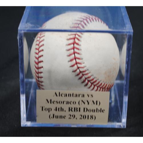 Photo of Game-Used Baseball: Sandy Alcantara vs Devin Mesoraco (NYM), Top 4th, RBI Double - Sandy Alcantara's First Career Win vs. New York Mets (June 29, 2018)