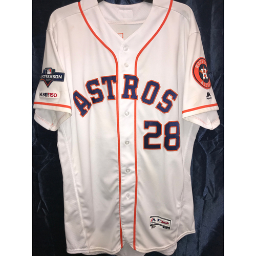 Photo of 2019 Game-Used ALDS and ALCS Robinson Chirinos Home White Jersey (Size 46)