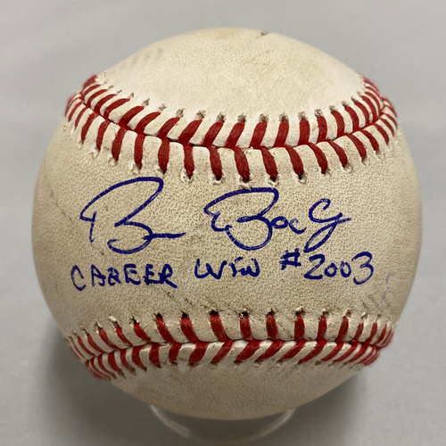 "Photo of 2020 Black Friday Sale - 2019 Autographed & Inscribed Game Used Baseball signed and inscribed ""Career Win #2,003"" by #15 Bruce Bochy"