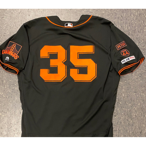 Photo of 2020 Cyber Monday Sale - #35 Brandon Crawford 2019 Game Used Black Home Alt Jersey used on 8/31 vs. SD - Size 48