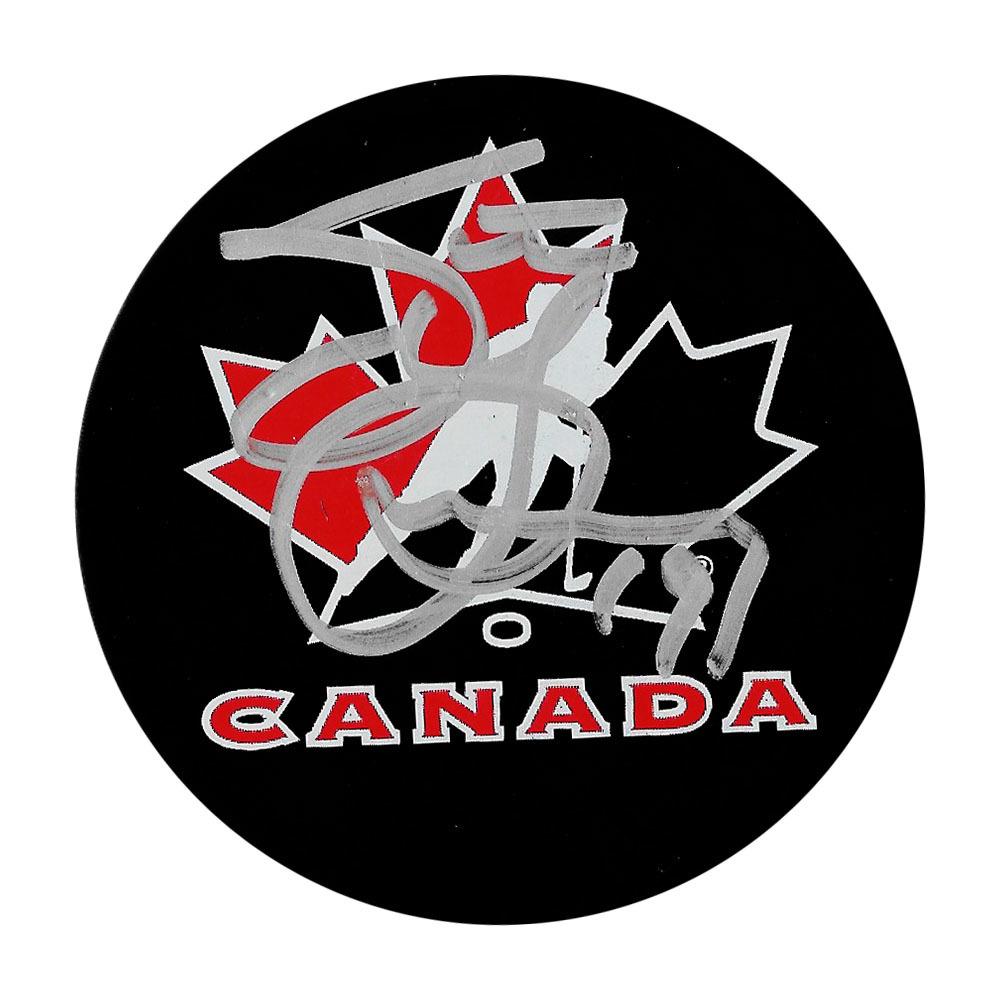 Steve Yzerman Autographed Team Canada Puck