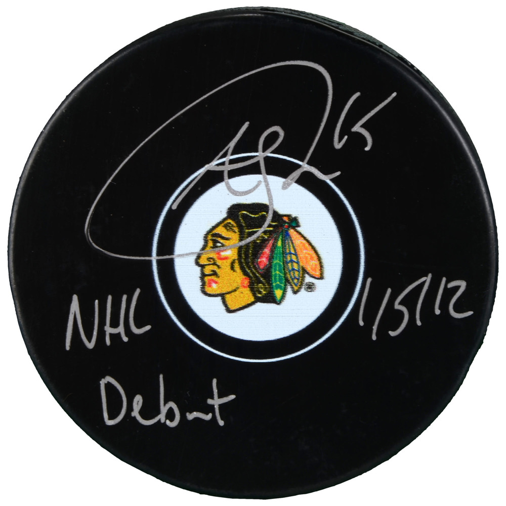 Andrew Shaw Chicago Blackhawks Autographed Hockey Puck with NHL Debut 1/5/12 Inscription