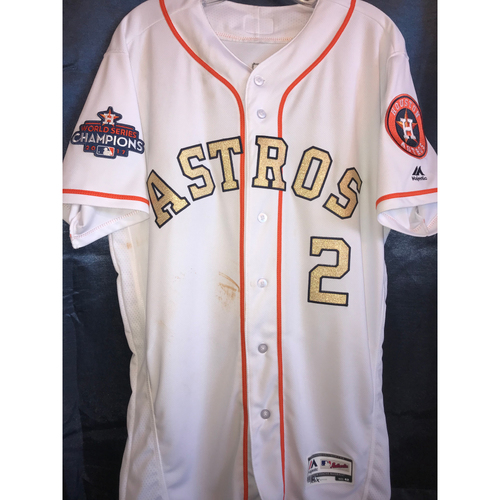 Photo of Alex Bregman Game-Used World Champions Gold Jersey - 4/3/18