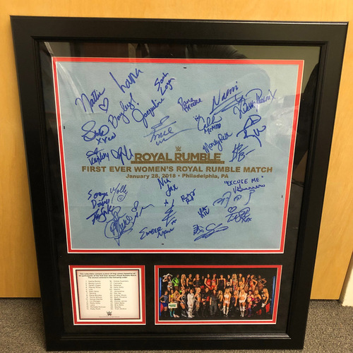 First Ever Women's Royal Rumble 2018 Framed Plaque w/ Ring Canvas (Autographed)