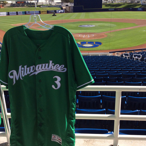 Photo of Orlando Arcia 2018 Team-Issued St. Patrick's Day Jersey