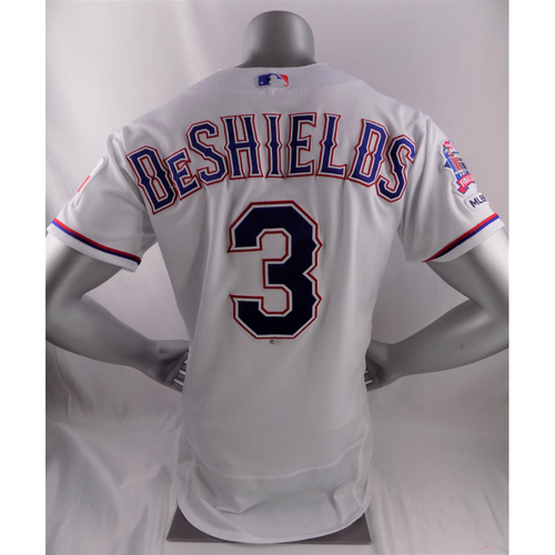 Photo of Game-Used White Jersey - Delino DeShields First MLB Career Grand Slam - 3/31/19