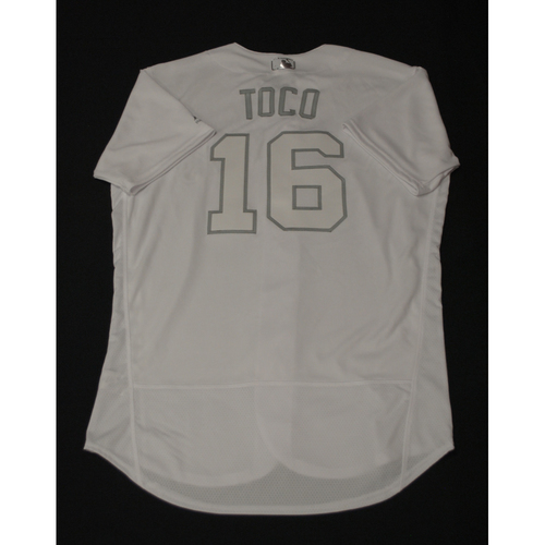 """Photo of Freddy """"TOCO"""" Galvis Toronto Blue Jays Team-Issued 2019 Players' Weekend Jersey"""