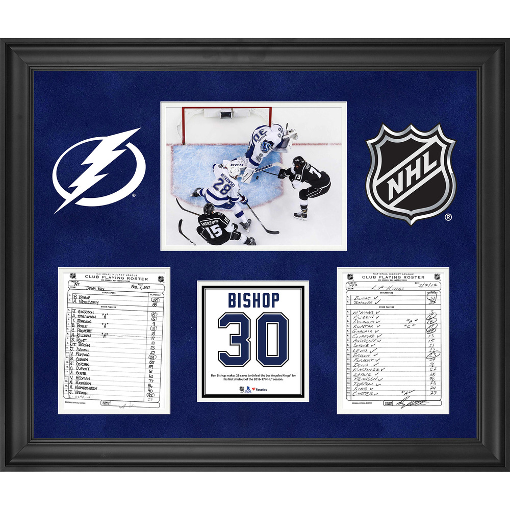 Tampa Bay Lightning Framed Original Line-Up Cards from February 7, 2017 vs. Los Angeles Kings - Ben Bishop 28-Save Shutout