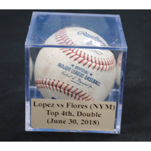 Photo of Game-Used Baseball: Pablo Lopez vs Wilmer Flores (NYM), Top 4th, Double (June 30, 2018)