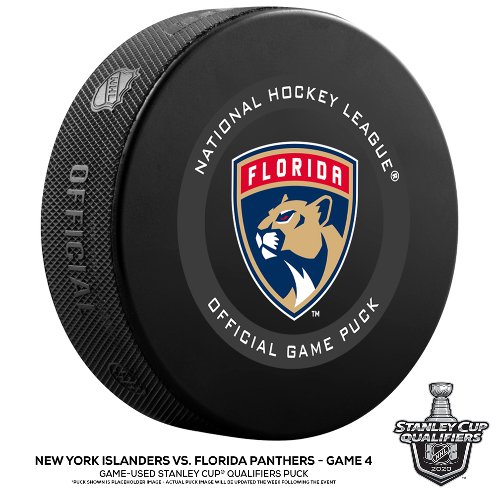 New York Islanders vs. Florida Panthers Game-Used Puck from Game 4 of the 2020 Qualifying Series on August 7, 2020