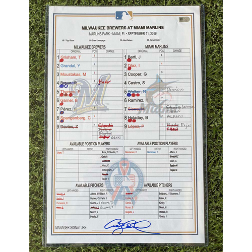 Photo of Game-Used Lineup Card 09/11/19 MIL@MIA - Josh Hader 30th Save of 2019 (INCLUDES FREE SHIPPING)