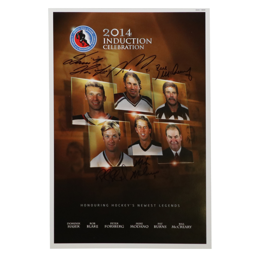 Forsberg, Hasek, Modano, Blake, McCreary, Burns - Class of 2014 Induction Signed Poster - Limited Edition