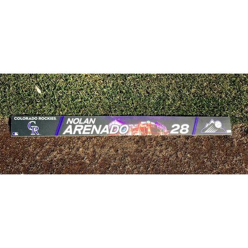 Photo of Colorado Rockies Nolan Arenado Authenticated Team-Issued Locker Tag