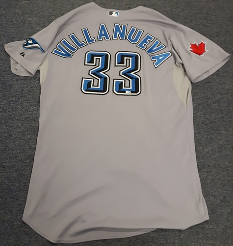 Photo of Authenticated Game Used Jersey - #33 Carlos Villanueva (April 16, 2011). Villanueva went 3 IP with 0 Hits, 0 ER, 2 Walks and 2 Ks. Size 50