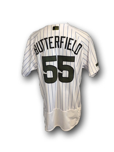 Photo of Brian Butterfield Team-Issued Memorial Day Jersey -- Giants vs. Cubs -- 5/27/18