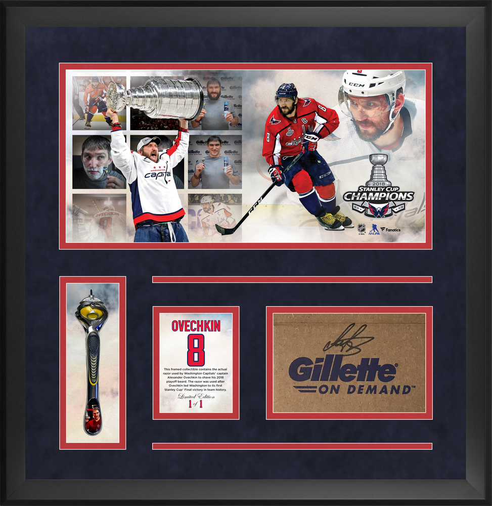 Alexander Ovechkin Washington Capitals Official Gillette Razor #1 (Used to Shave 2018 Playoff Beard) Frame with Autographed Gillette Box - Limited Edition of 1