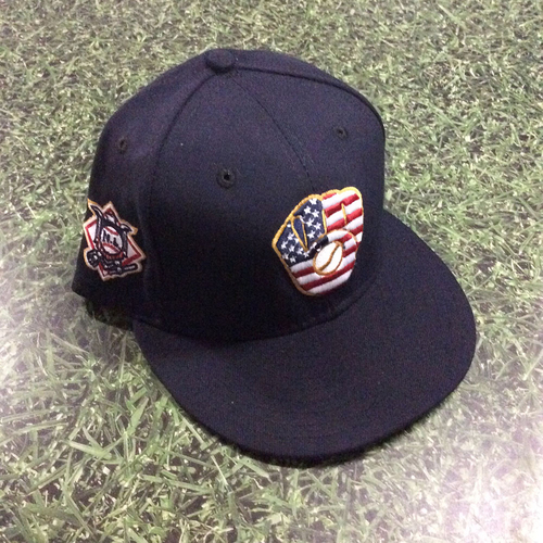 Photo of Travis Shaw Game-Used 2018 Stars & Stripes Cap - Solo HR (7/4/18)
