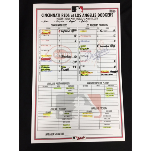 Game-Used Dugout Lineup Card - 5/11/18 - CIN vs. LAD - Matt Harvey's Reds Debut; Scooter Gennett's 6th HR of 2018