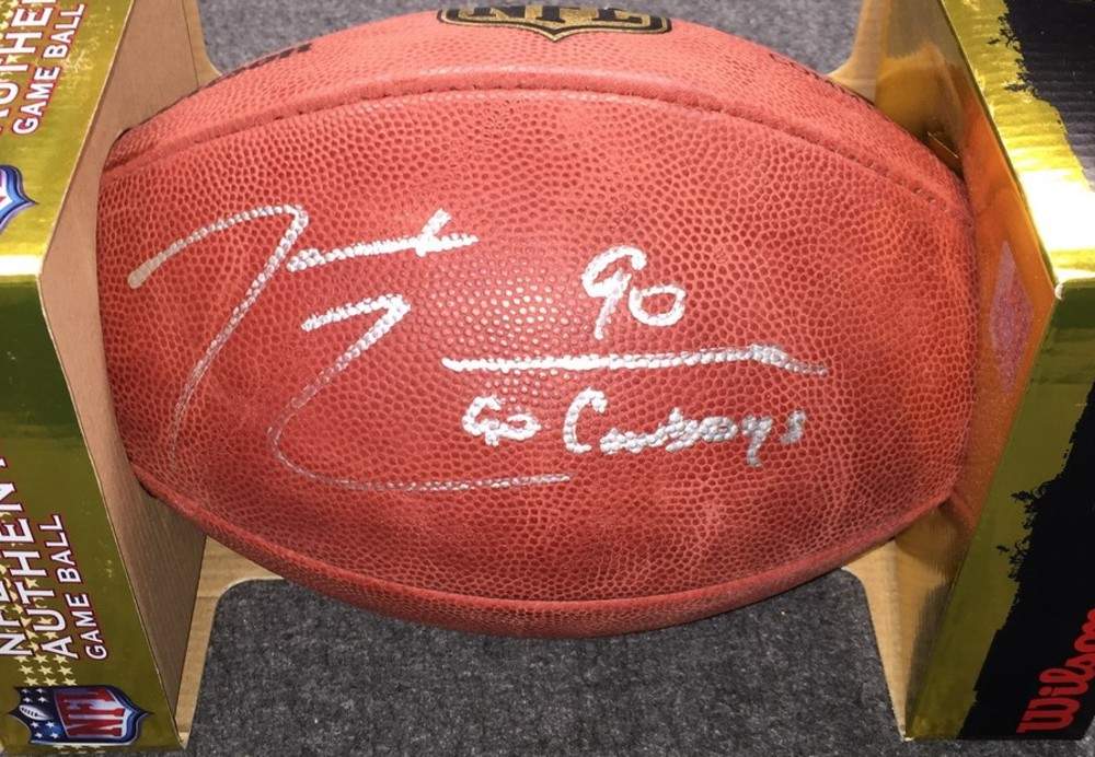 NFL - Cowboys DeMarcus Lawrence signed authentic football w/ Go Cowboys inscription