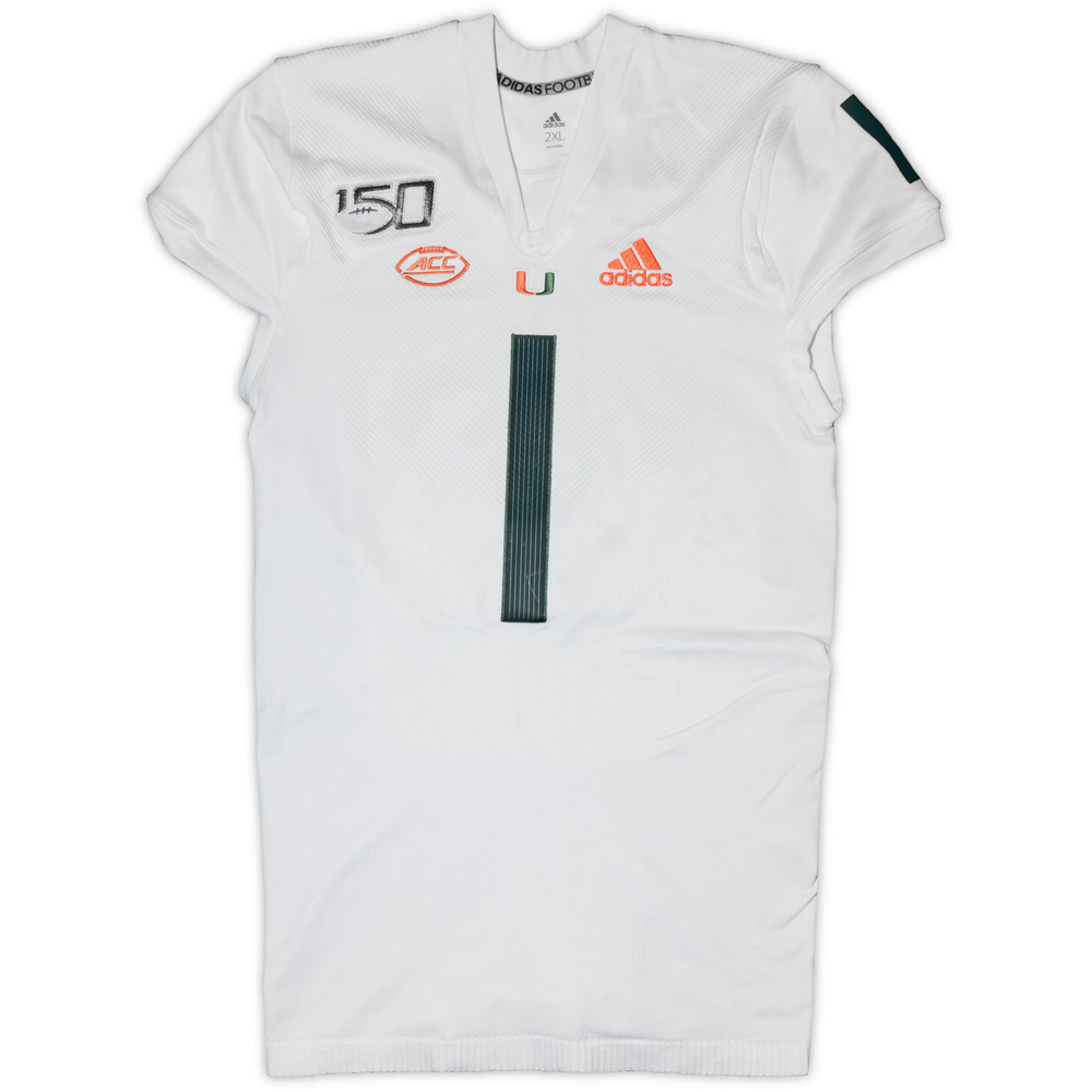 Miami Hurricanes Game-Worn #1 White Parley Jersey - Size 2XL