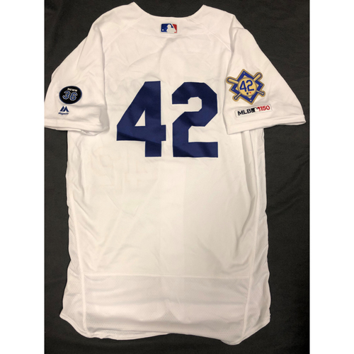 Photo of 2019 Game Used Home #42 Jersey worn by # 75 Pitcher Scott Alexander on 4/15 Jackie Robinson Day. Dodgers 4-3 victory against Cincinnati, Size 44