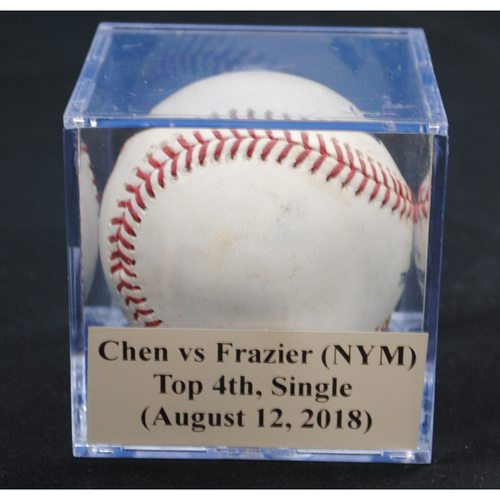 Photo of Game-Used Baseball: Wei-Yin Chen vs Todd Frazier (NYM), Top 4th, Single (August 12, 2018)
