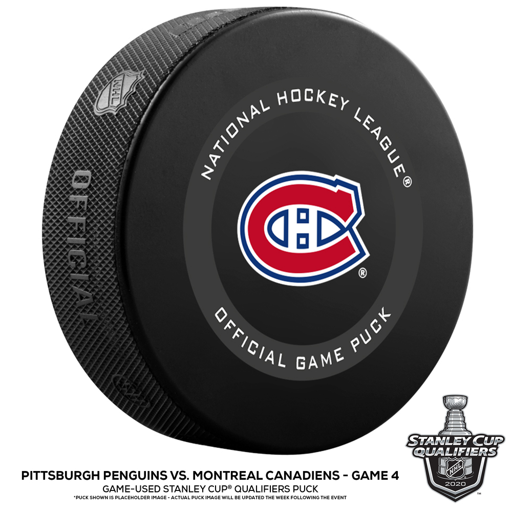 Pittsburgh Penguins vs. Montreal Canadiens Game-Used Puck from Game 4 of the 2020 Qualifying Series on August 7, 2020