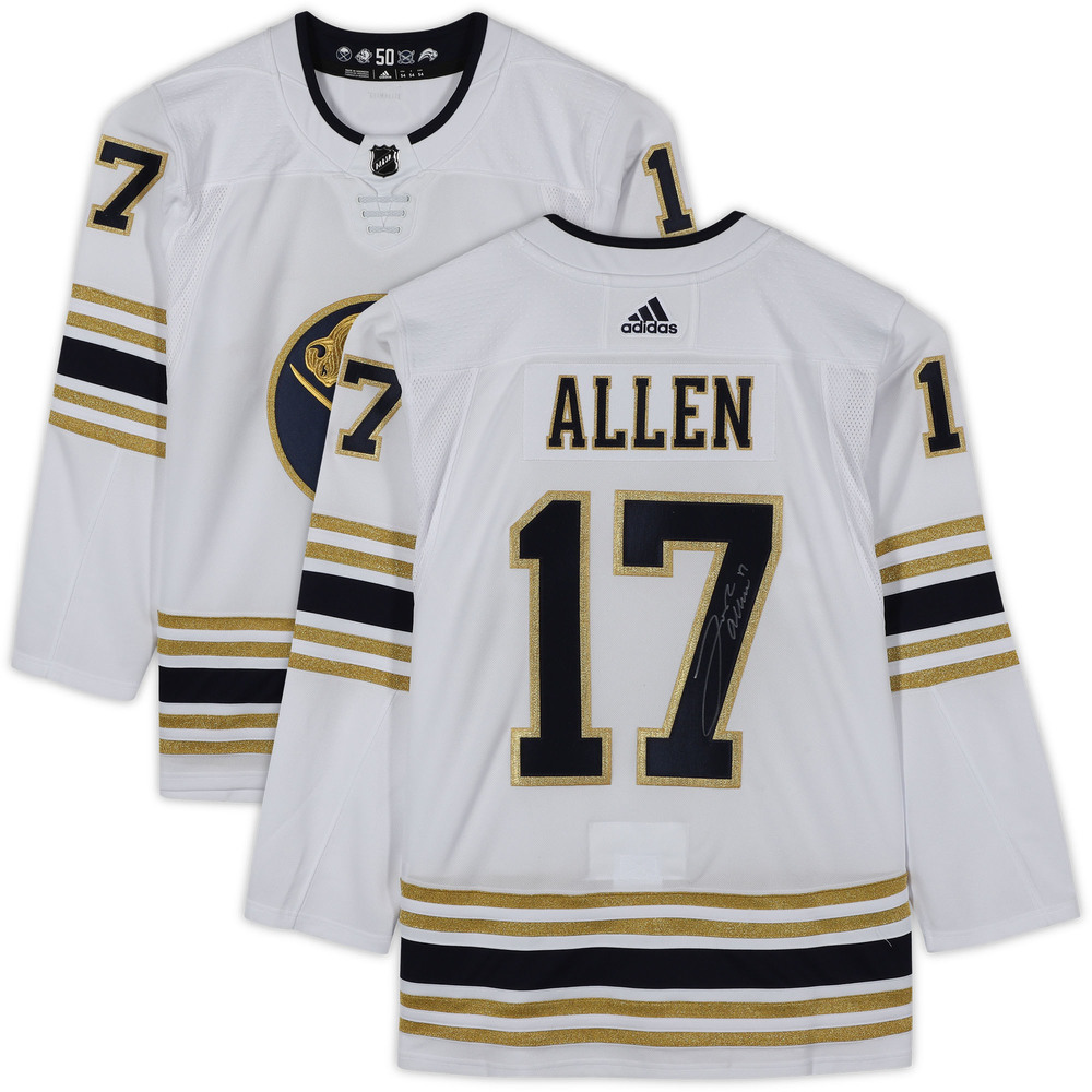 Josh Allen Buffalo Bills Autographed Buffalo Sabres White Alternate Adidas Authentic Jersey - NHL Auctions Exclusive