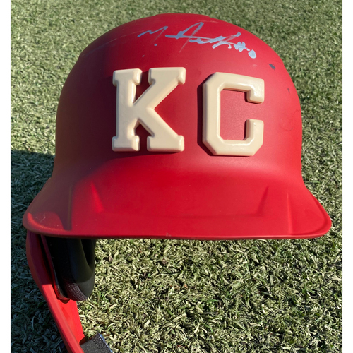 Photo of Autographed/Game-Used Monarchs Helmet: Nick Heath #0 (STL @ KC 9/22/20) - Size 7