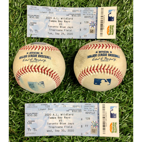 Photo of A.L. Wild Card Series Game Used Baseball and Ticket Package: Blake Snell, Tyler Glasnow, Danny Jansen and Teoscar Hernandez - September 29-30, 2020 v TOR