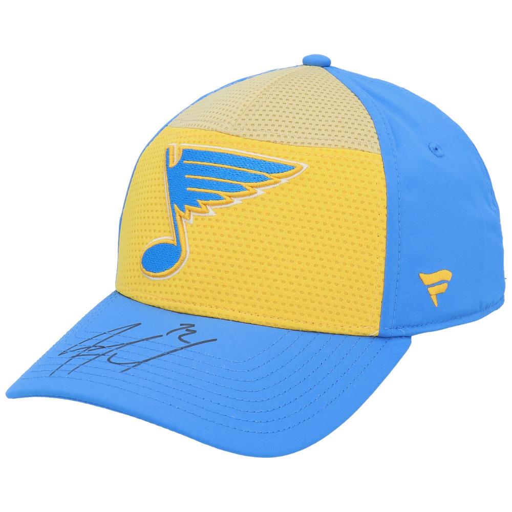 Justin Faulk St. Louis Blues Autographed Fanatics Gold/Blue Breakaway Alternate Logo Hat - NHL Auctions Exclusive