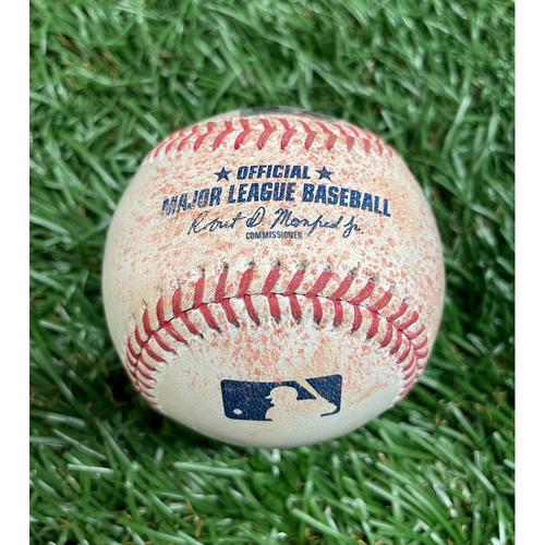 Photo of Game Used Baseball: Brandon Lowe single off Frankie Montas - Bottom 3 - April 27, 2021 v OAK